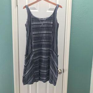 ATHLETA Dress Striped Black and Blue/Gray Size XL